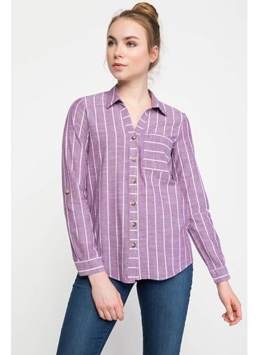 DeFacto Tek Cepli Uzun Kollu V Yakalı Çizgili Gömlek Mor
